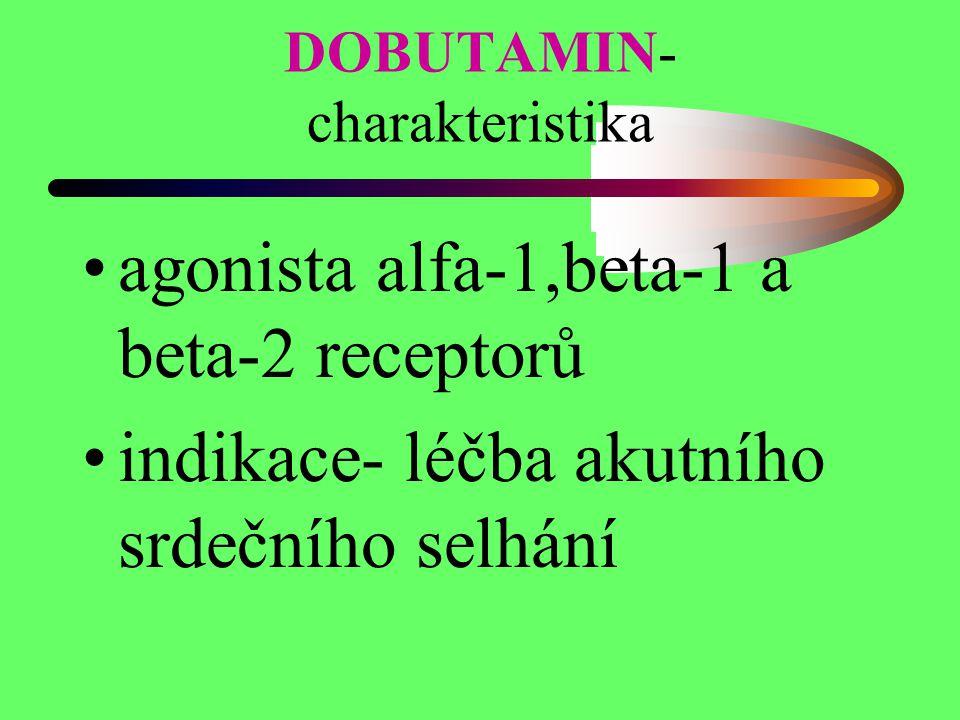 DOBUTAMIN- charakteristika agonista alfa-1,beta-1 a beta-2 receptorů indikace- léčba akutního srdečního selhání