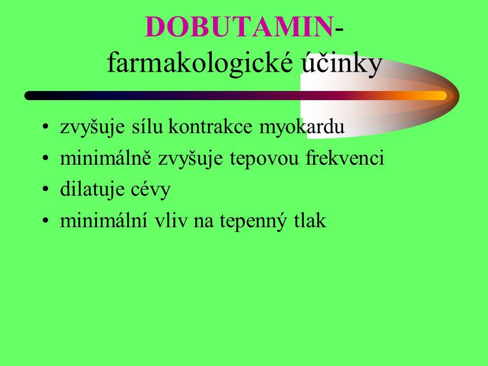 DOBUTAMIN- farmakologické účinky zvyšuje sílu kontrakce myokardu minimálně zvyšuje tepovou frekvenci dilatuje cévy minimální vliv na tepenný tlak