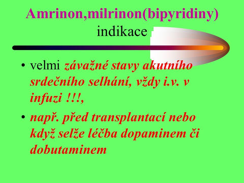 Amrinon,milrinon(bipyridiny) indikace velmi závažné stavy akutního srdečního selhání, vždy i.v. v infuzi !!!, např. před transplantací nebo když selže