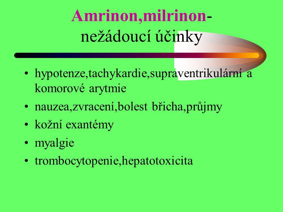 Amrinon,milrinon- nežádoucí účinky hypotenze,tachykardie,supraventrikulární a komorové arytmie nauzea,zvracení,bolest břicha,průjmy kožní exantémy mya