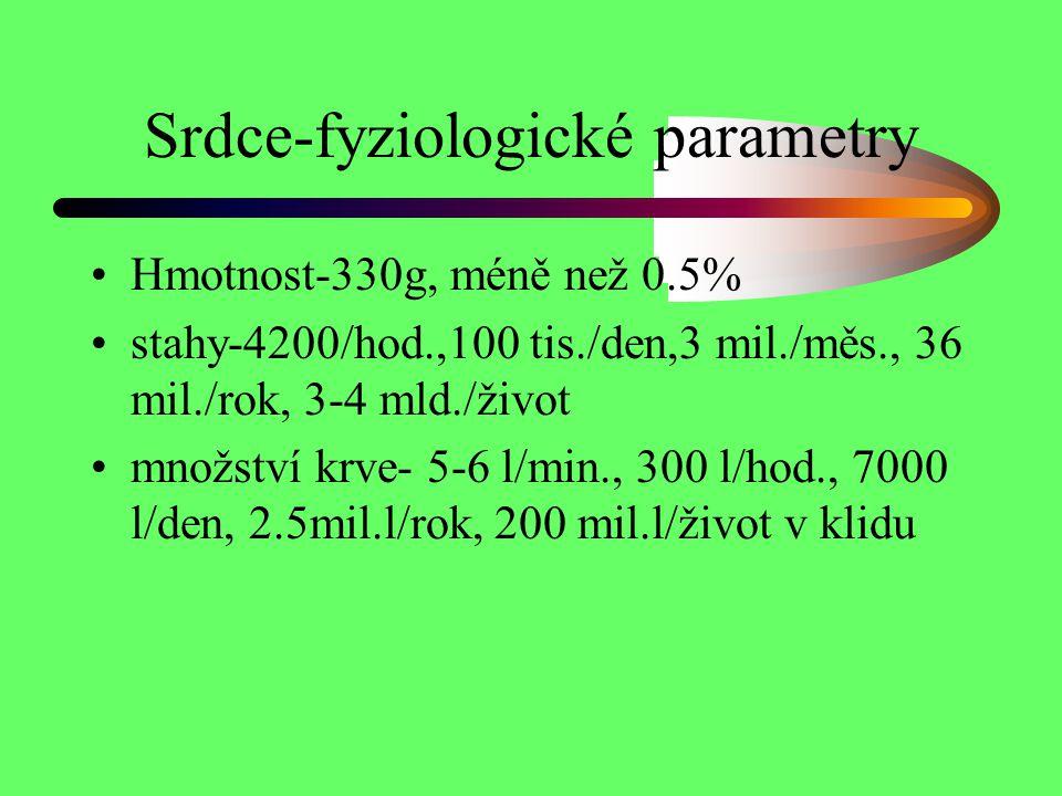 Srdce-fyziologické parametry Hmotnost-330g, méně než 0.5% stahy-4200/hod.,100 tis./den,3 mil./měs., 36 mil./rok, 3-4 mld./život množství krve- 5-6 l/m