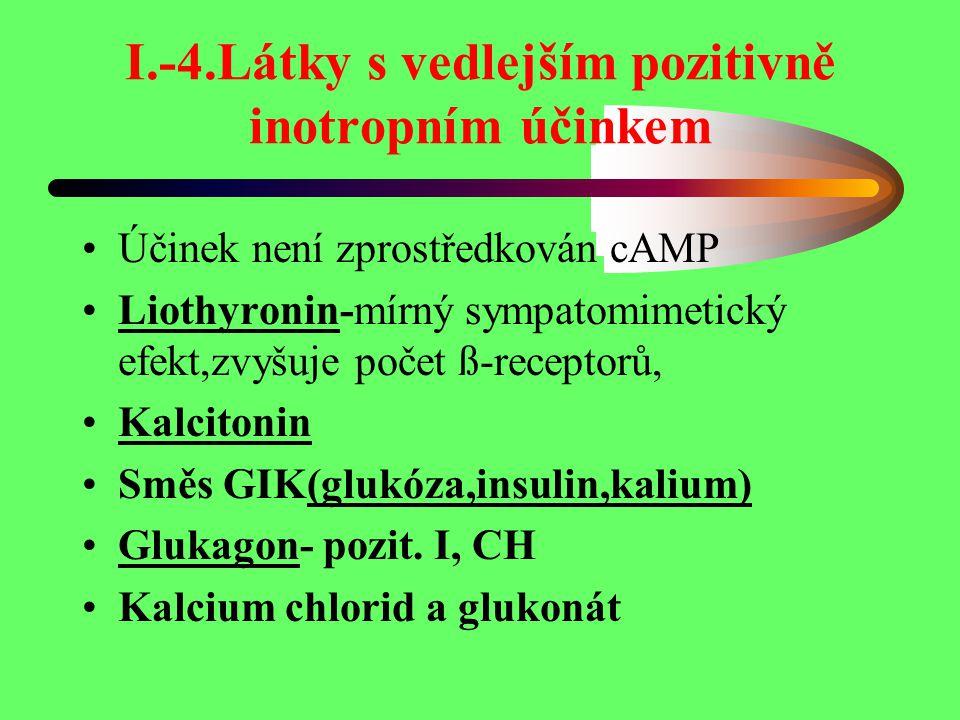 I.-4.Látky s vedlejším pozitivně inotropním účinkem Účinek není zprostředkován cAMP Liothyronin-mírný sympatomimetický efekt,zvyšuje počet ß-receptorů