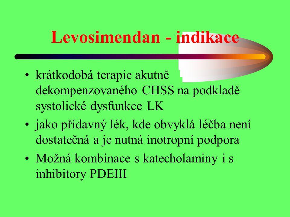 Levosimendan - indikace krátkodobá terapie akutně dekompenzovaného CHSS na podkladě systolické dysfunkce LK jako přídavný lék, kde obvyklá léčba není