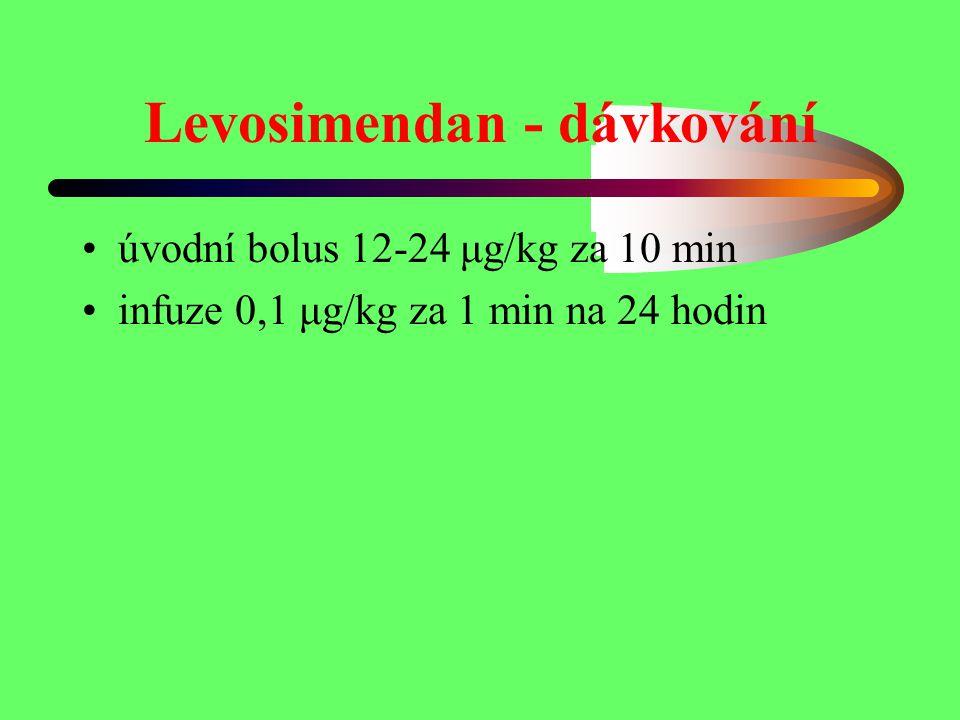 Levosimendan - dávkování úvodní bolus 12-24 μg/kg za 10 min infuze 0,1 μg/kg za 1 min na 24 hodin