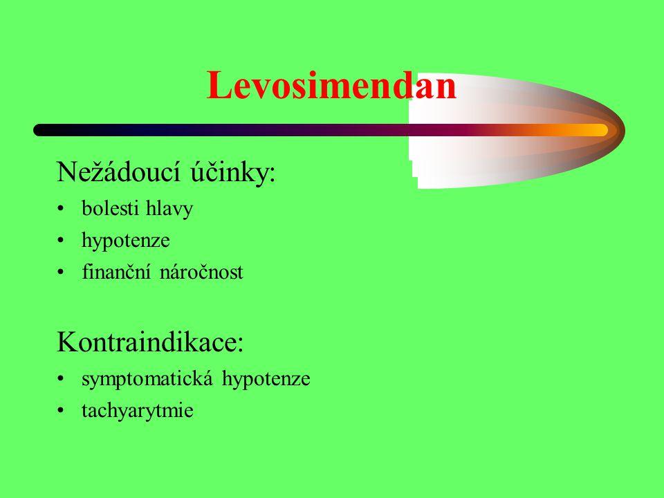 Levosimendan Nežádoucí účinky: bolesti hlavy hypotenze finanční náročnost Kontraindikace: symptomatická hypotenze tachyarytmie