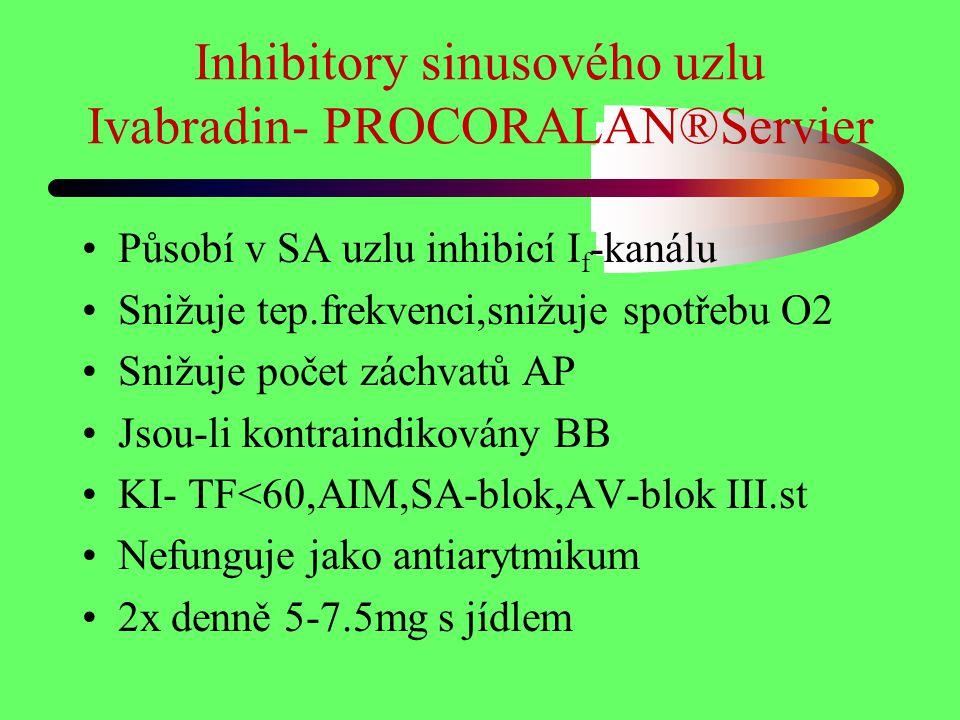 Inhibitory sinusového uzlu Ivabradin- PROCORALAN®Servier Působí v SA uzlu inhibicí I f -kanálu Snižuje tep.frekvenci,snižuje spotřebu O2 Snižuje počet