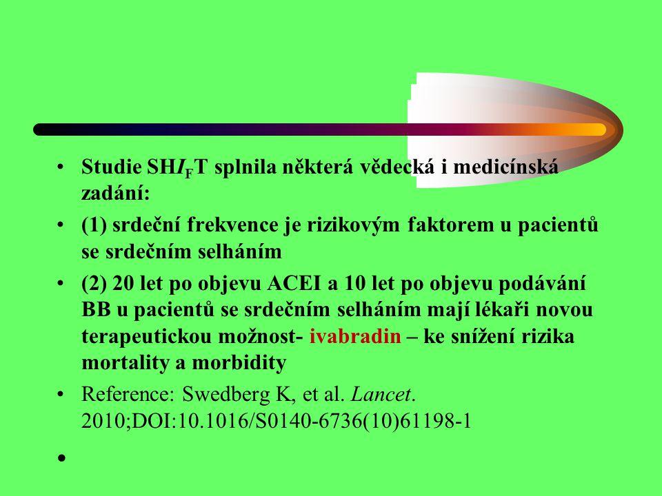 Studie SHI F T splnila některá vědecká i medicínská zadání: (1) srdeční frekvence je rizikovým faktorem u pacientů se srdečním selháním (2) 20 let po