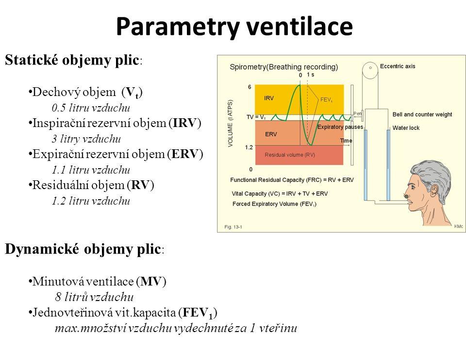 Parametry ventilace Statické objemy plic : Dechový objem (V t ) 0.5 litru vzduchu Inspirační rezervní objem (IRV) 3 litry vzduchu Expirační rezervní o
