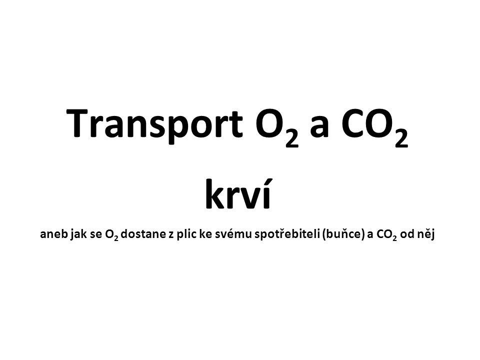 Transport O 2 a CO 2 krví aneb jak se O 2 dostane z plic ke svému spotřebiteli (buňce) a CO 2 od něj