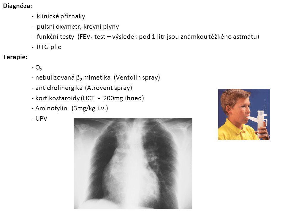 Diagnóza: - klinické příznaky - pulsní oxymetr, krevní plyny - funkční testy (FEV 1 test – výsledek pod 1 litr jsou známkou těžkého astmatu) - RTG pli