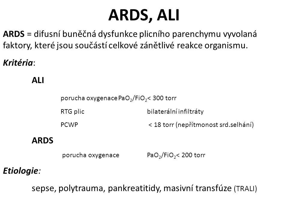 ARDS, ALI ARDS = difusní buněčná dysfunkce plicního parenchymu vyvolaná faktory, které jsou součástí celkové zánětlivé reakce organismu. Kritéria: ALI