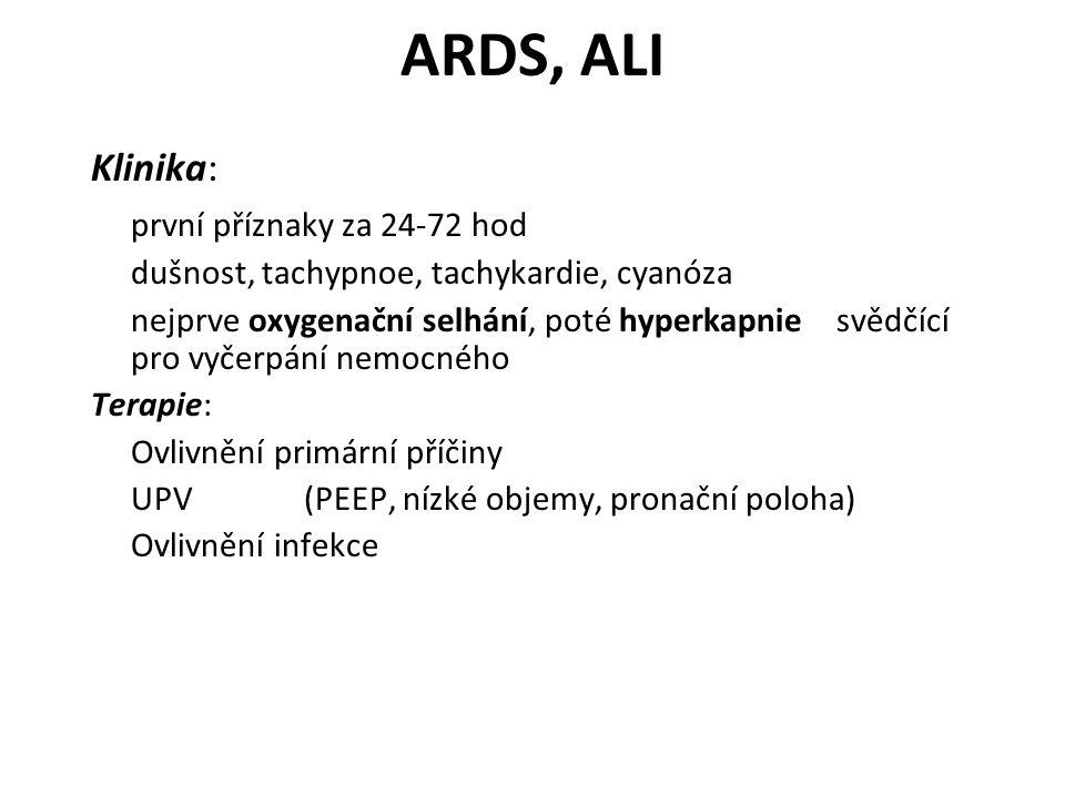 ARDS, ALI Klinika: první příznaky za 24-72 hod dušnost, tachypnoe, tachykardie, cyanóza nejprve oxygenační selhání, poté hyperkapnie svědčící pro vyče