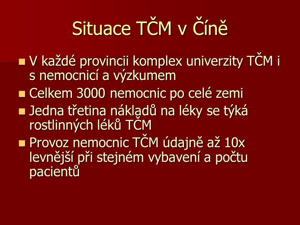 Situace TČM v Číně V každé provincii komplex univerzity TČM i s nemocnicí a výzkumem V každé provincii komplex univerzity TČM i s nemocnicí a výzkumem