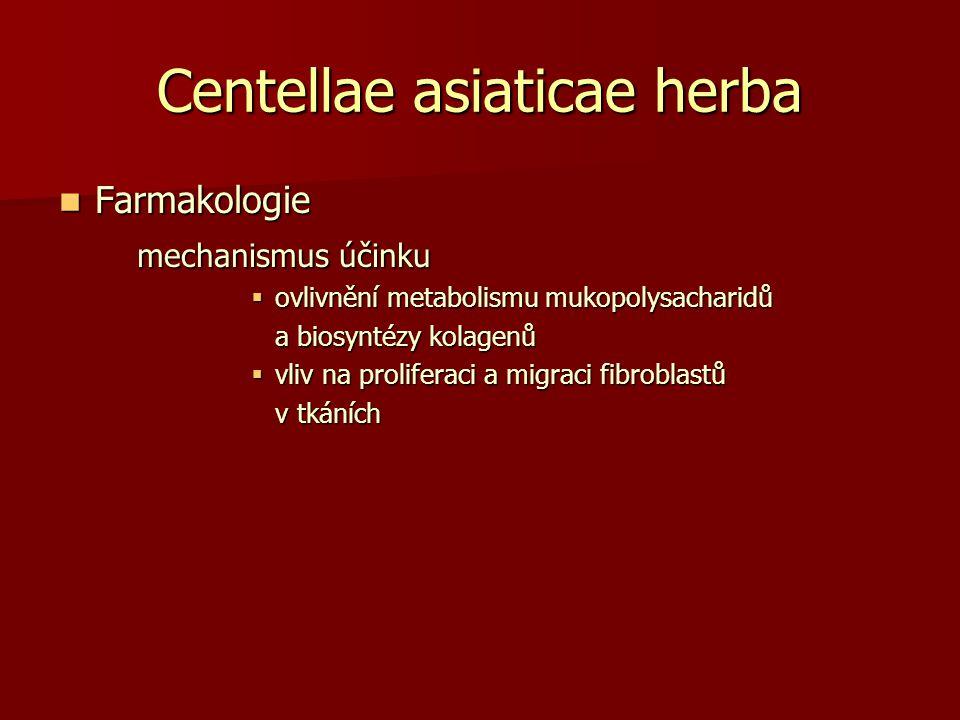 Centellae asiaticae herba Farmakologie Farmakologie mechanismus účinku  ovlivnění metabolismu mukopolysacharidů a biosyntézy kolagenů  vliv na proli