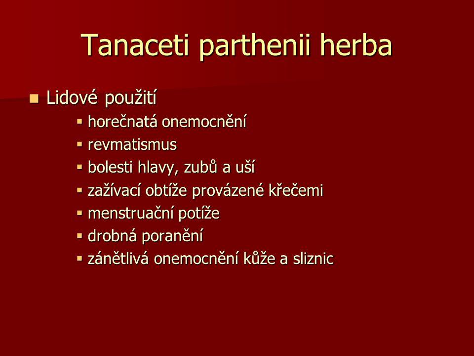 Tanaceti parthenii herba Lidové použití Lidové použití  horečnatá onemocnění  revmatismus  bolesti hlavy, zubů a uší  zažívací obtíže provázené kř