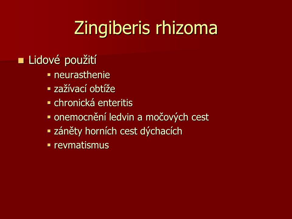 Zingiberis rhizoma Lidové použití Lidové použití  neurasthenie  zažívací obtíže  chronická enteritis  onemocnění ledvin a močových cest  záněty h