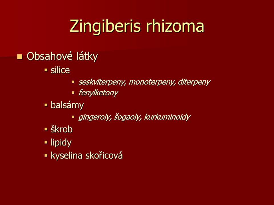 Zingiberis rhizoma Obsahové látky Obsahové látky  silice  seskviterpeny, monoterpeny, diterpeny  fenylketony  balsámy  gingeroly, šogaoly, kurkum