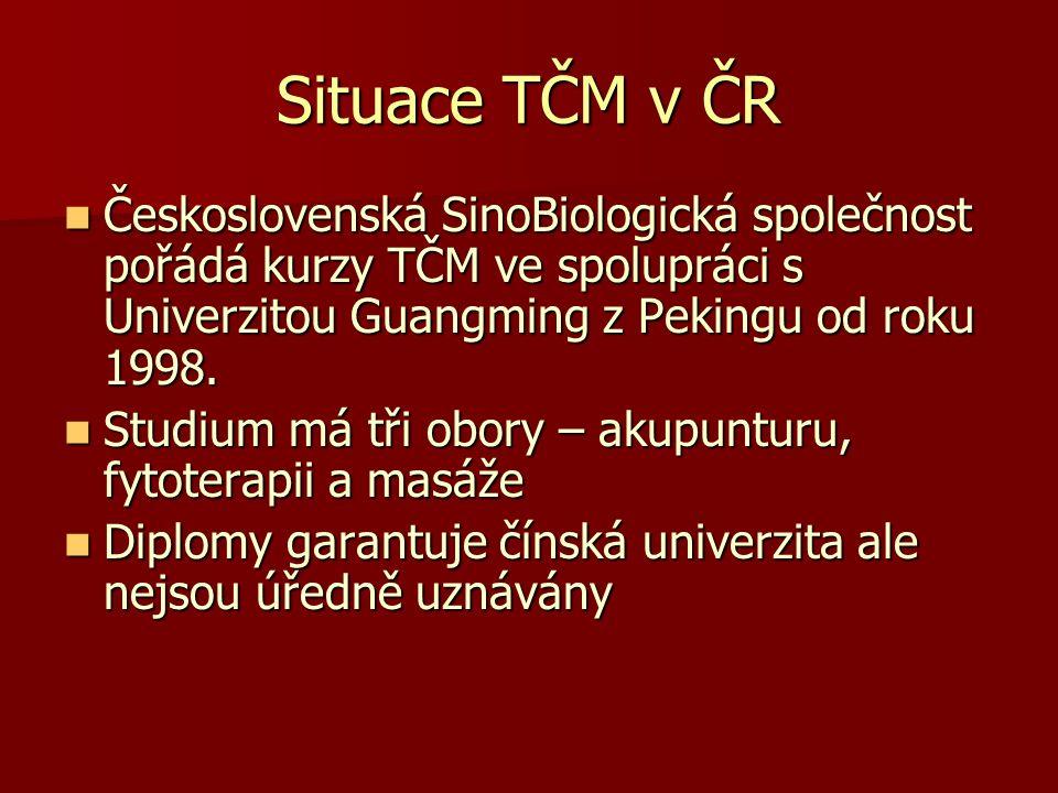 Situace TČM v ČR Československá SinoBiologická společnost pořádá kurzy TČM ve spolupráci s Univerzitou Guangming z Pekingu od roku 1998. Československ