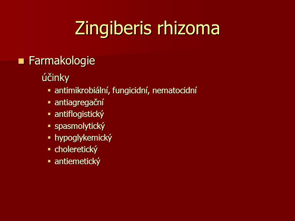 Zingiberis rhizoma Farmakologie Farmakologieúčinky  antimikrobiální, fungicidní, nematocidní  antiagregační  antiflogistický  spasmolytický  hypo