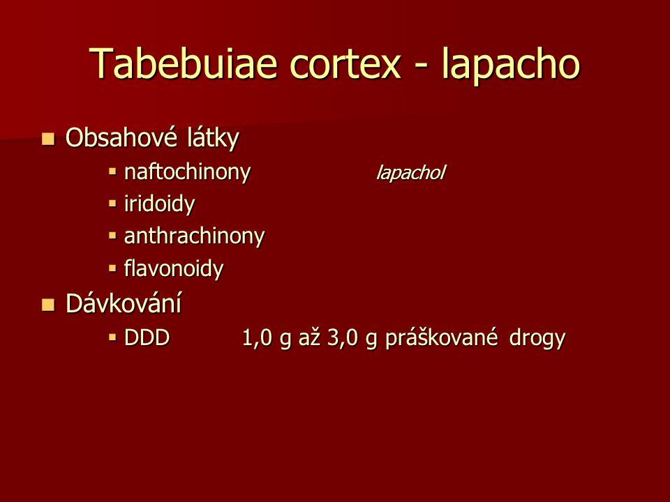 Tabebuiae cortex - lapacho Obsahové látky Obsahové látky  naftochinony lapachol  iridoidy  anthrachinony  flavonoidy Dávkování Dávkování  DDD1,0