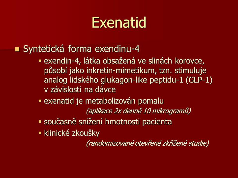 Exenatid Syntetická forma exendinu-4 Syntetická forma exendinu-4  exendin-4, látka obsažená ve slinách korovce, působí jako inkretin-mimetikum, tzn.