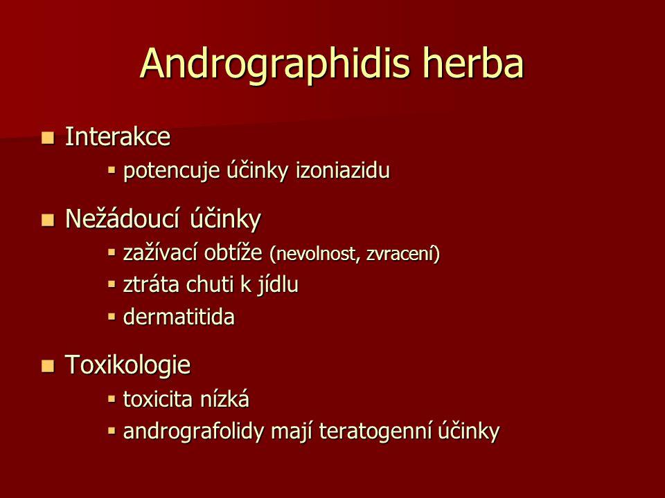 Andrographidis herba Interakce Interakce  potencuje účinky izoniazidu Nežádoucí účinky Nežádoucí účinky  zažívací obtíže (nevolnost, zvracení)  ztr