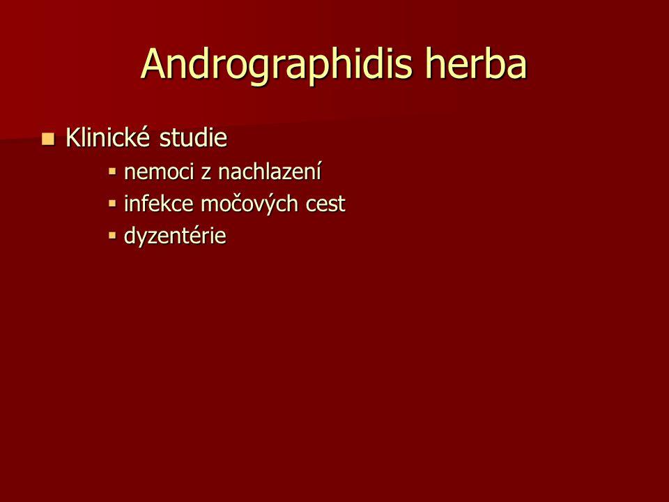 Andrographidis herba Klinické studie Klinické studie  nemoci z nachlazení  infekce močových cest  dyzentérie