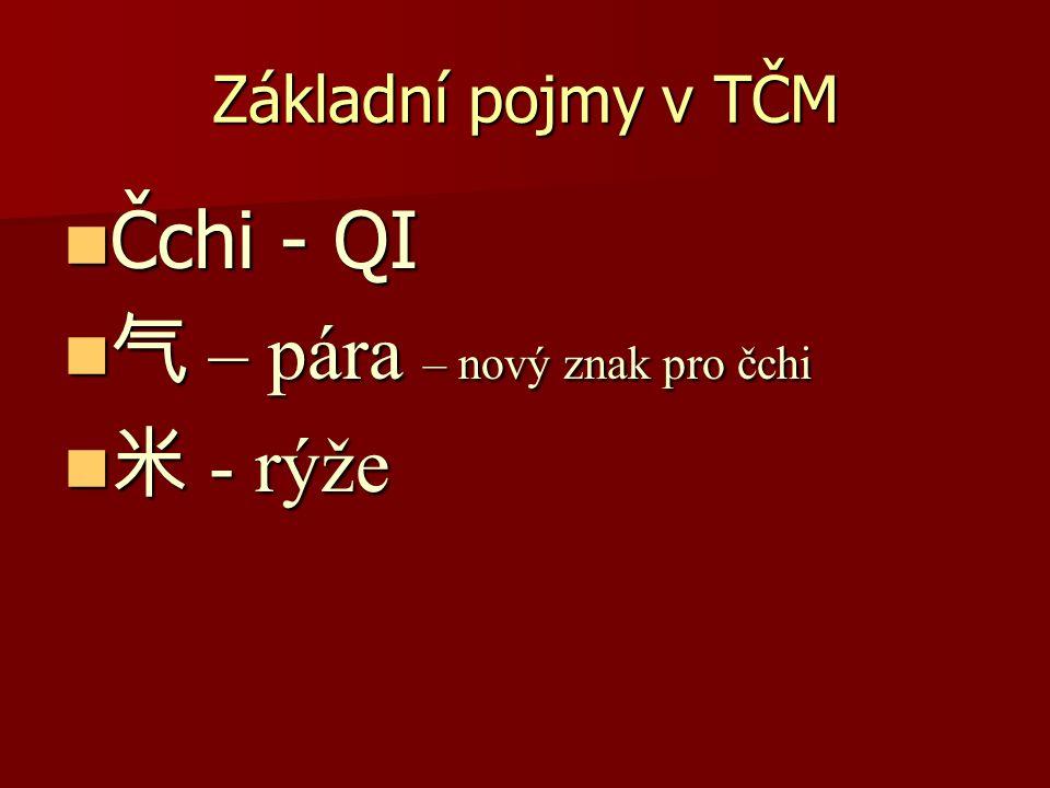Základní pojmy v TČM Čchi - QI Čchi - QI 气 – pára – nový znak pro čchi 气 – pára – nový znak pro čchi 米 - rýže 米 - rýže