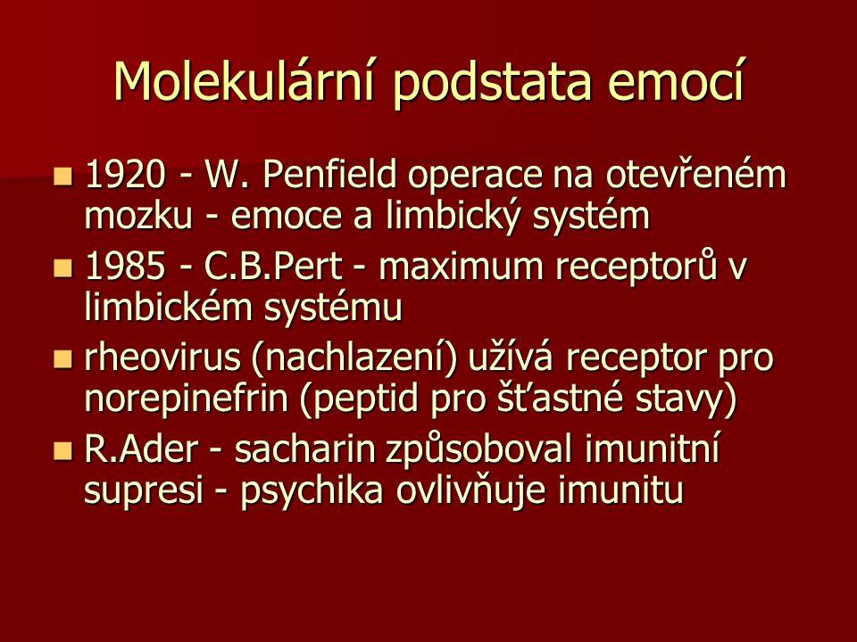 Molekulární podstata emocí 1920 - W. Penfield operace na otevřeném mozku - emoce a limbický systém 1920 - W. Penfield operace na otevřeném mozku - emo