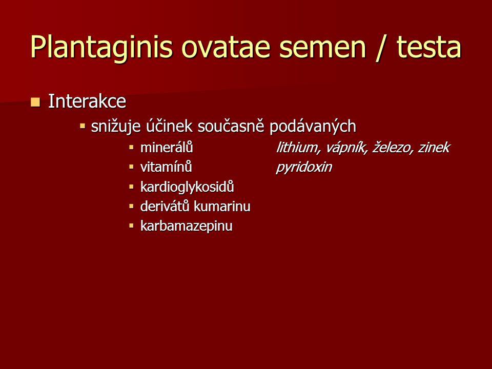 Plantaginis ovatae semen / testa Interakce Interakce  snižuje účinek současně podávaných  minerálů lithium, vápník, železo, zinek  vitamínů pyridox