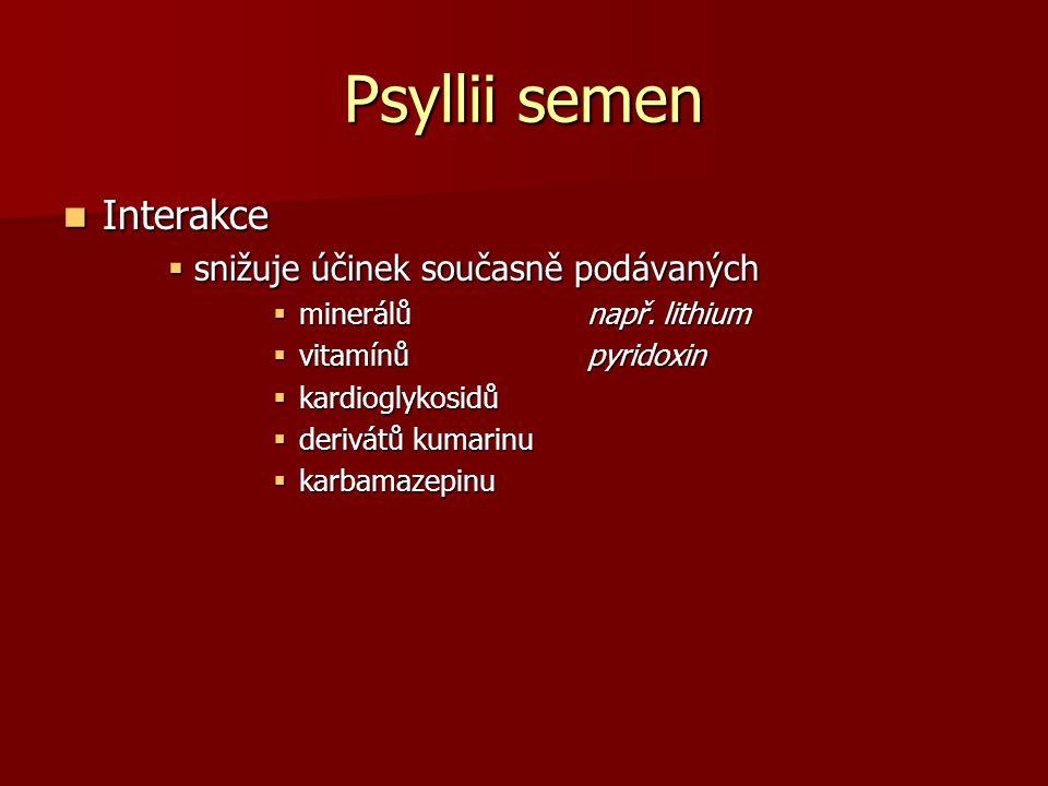 Psyllii semen Interakce Interakce  snižuje účinek současně podávaných  minerálů např. lithium  vitamínů pyridoxin  kardioglykosidů  derivátů kuma