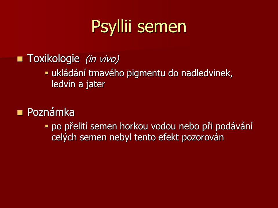 Psyllii semen Toxikologie (in vivo) Toxikologie (in vivo)  ukládání tmavého pigmentu do nadledvinek, ledvin a jater Poznámka Poznámka  po přelití se
