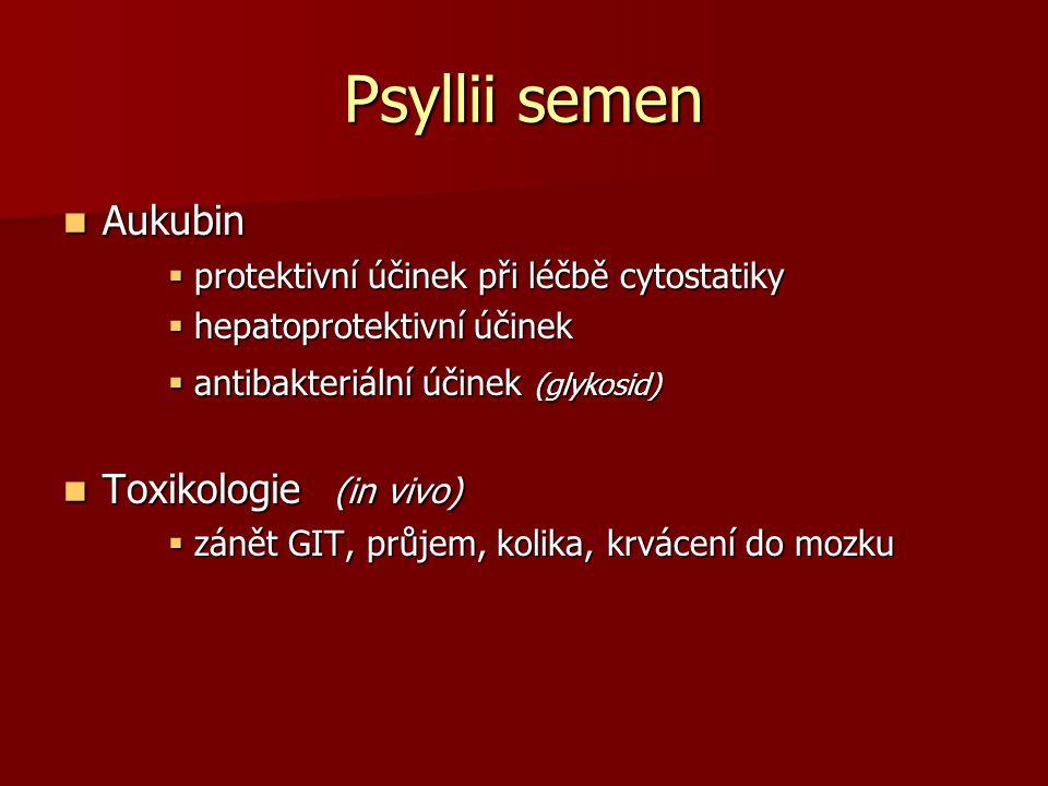 Psyllii semen Aukubin Aukubin  protektivní účinek při léčbě cytostatiky  hepatoprotektivní účinek  antibakteriální účinek (glykosid) Toxikologie (i