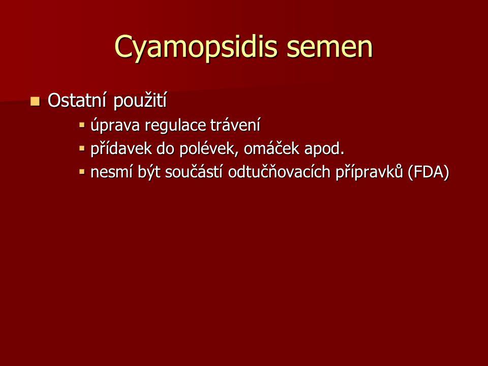Cyamopsidis semen Ostatní použití Ostatní použití  úprava regulace trávení  přídavek do polévek, omáček apod.  nesmí být součástí odtučňovacích pří