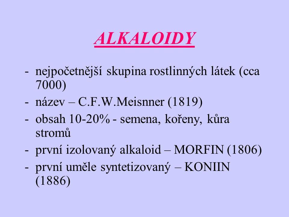 ALKALOIDY -nejpočetnější skupina rostlinných látek (cca 7000) -název – C.F.W.Meisnner (1819) -obsah 10-20% - semena, kořeny, kůra stromů -první izolov