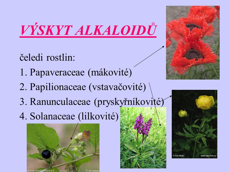 VÝSKYT ALKALOIDŮ čeledi rostlin: 1. Papaveraceae (mákovité) 2. Papilionaceae (vstavačovité) 3. Ranunculaceae (pryskyřníkovité) 4. Solanaceae (lilkovit