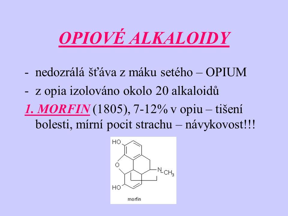 OPIOVÉ ALKALOIDY -nedozrálá šťáva z máku setého – OPIUM -z opia izolováno okolo 20 alkaloidů 1. MORFIN (1805), 7-12% v opiu – tišení bolesti, mírní po