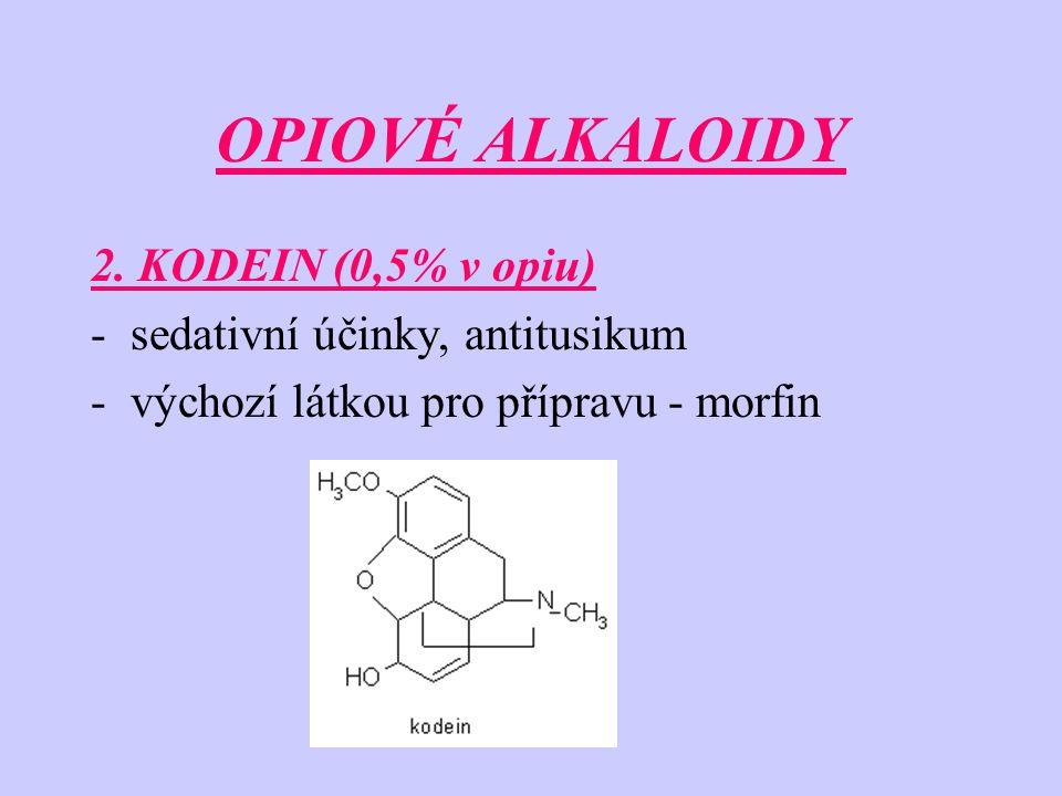 OPIOVÉ ALKALOIDY 2. KODEIN (0,5% v opiu) -sedativní účinky, antitusikum -výchozí látkou pro přípravu - morfin