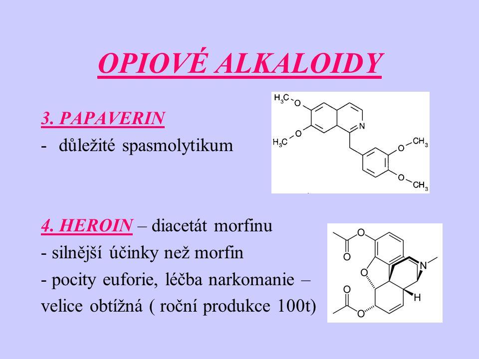 OPIOVÉ ALKALOIDY 3. PAPAVERIN -důležité spasmolytikum 4. HEROIN – diacetát morfinu - silnější účinky než morfin - pocity euforie, léčba narkomanie – v