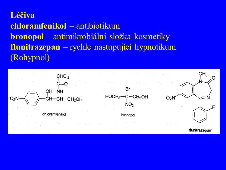 Léčiva chloramfenikol – antibiotikum bronopol – antimikrobiální složka kosmetiky flunitrazepan – rychle nastupující hypnotikum (Rohypnol)