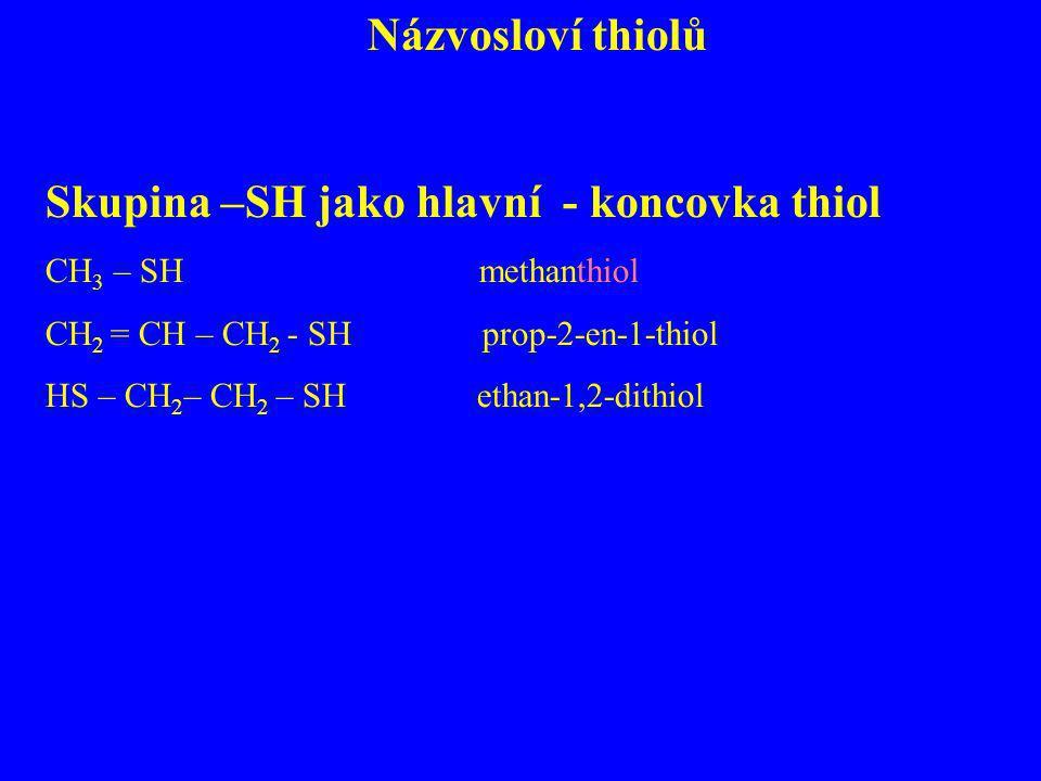 Názvosloví thiolů Skupina –SH jako hlavní - koncovka thiol CH 3 – SH methanthiol CH 2 = CH – CH 2 - SH prop-2-en-1-thiol HS – CH 2 – CH 2 – SH ethan-1