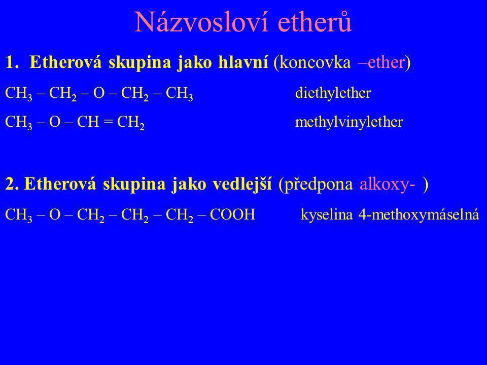 Názvosloví thiolů Skupina –SH jako hlavní - koncovka thiol CH 3 – SH methanthiol CH 2 = CH – CH 2 - SH prop-2-en-1-thiol HS – CH 2 – CH 2 – SH ethan-1,2-dithiol