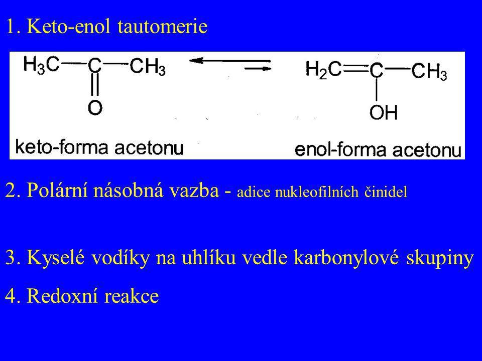 1. Keto-enol tautomerie 2. Polární násobná vazba - adice nukleofilních činidel 3. Kyselé vodíky na uhlíku vedle karbonylové skupiny 4. Redoxní reakce