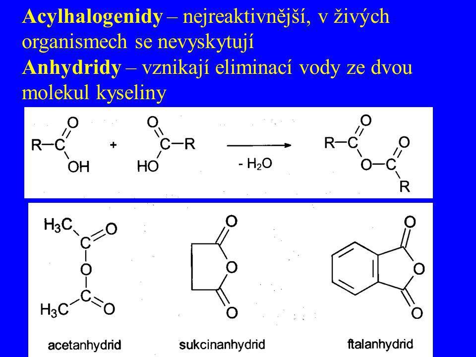 Acylhalogenidy – nejreaktivnější, v živých organismech se nevyskytují Anhydridy – vznikají eliminací vody ze dvou molekul kyseliny