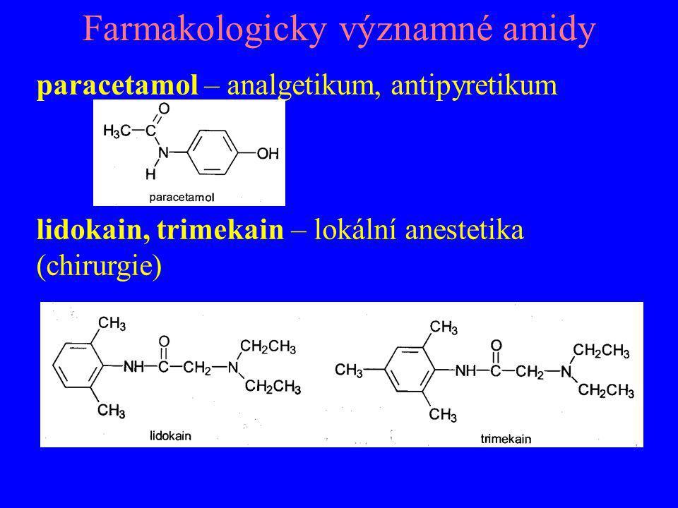 Farmakologicky významné amidy paracetamol – analgetikum, antipyretikum lidokain, trimekain – lokální anestetika (chirurgie)