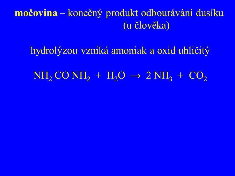 močovina – konečný produkt odbourávání dusíku (u člověka) hydrolýzou vzniká amoniak a oxid uhličitý NH 2 CO NH 2 + H 2 O → 2 NH 3 + CO 2
