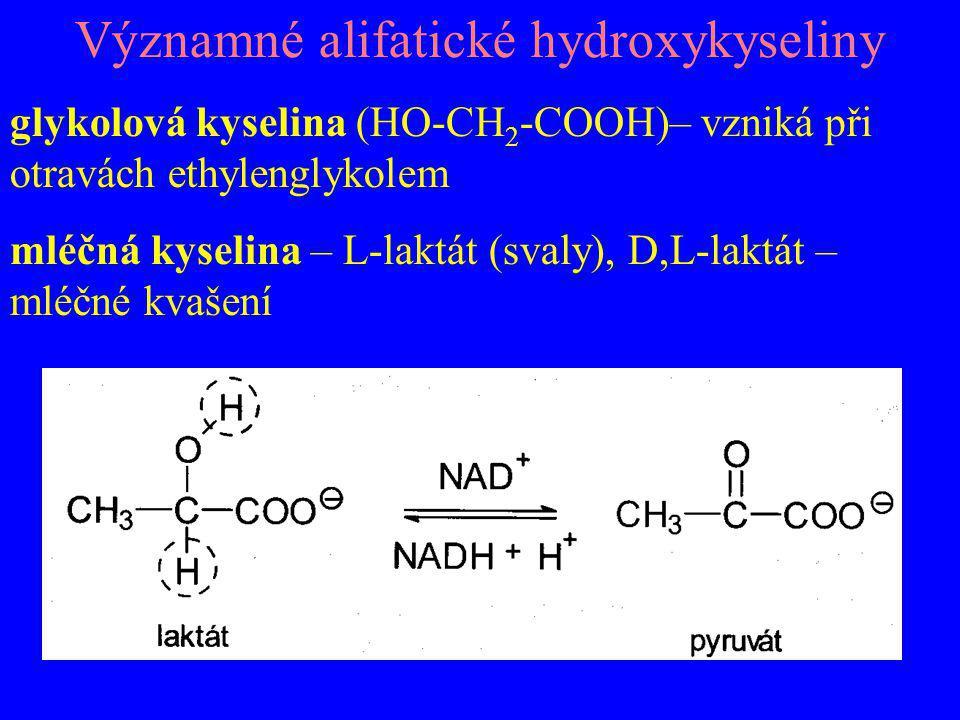 Významné alifatické hydroxykyseliny glykolová kyselina (HO-CH 2 -COOH)– vzniká při otravách ethylenglykolem mléčná kyselina – L-laktát (svaly), D,L-la