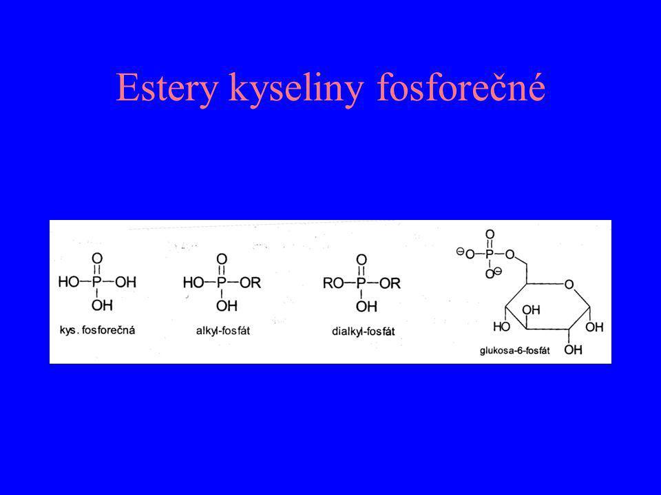 Významné karboxylové kyseliny Kyselina mravenčí (HCOOH) – oxidací methanolu Kyselina octová (CH 3 COOH) –acetyl-koenzym A (meziprodult metabolismu sacharidů, mastných kyselin...) Kyselina propionová (CH 3 CH 2 COOH) – biochemicky důležitá Kyselina máselná (CH 3 CH 2 CH 2 COOH) ) – páchne, esterově vázaná v mléčném tuku Kyselina šťavelová (HOOC-COOH) – krystalická, toxická