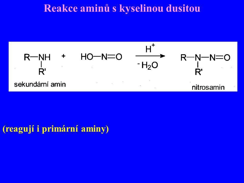 Reakce aminů s kyselinou dusitou (reagují i primární aminy)
