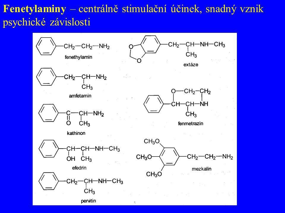 Fenetylaminy – centrálně stimulační účinek, snadný vznik psychické závislosti